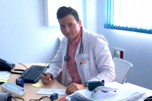 Dr. John Carlos Justin at the camposol health clinic